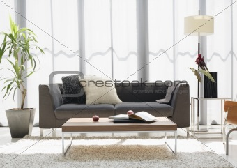 black sofa and the  book on the table