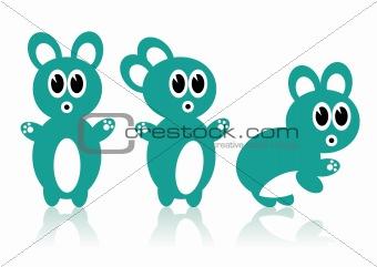 Three cartoon rabbits green
