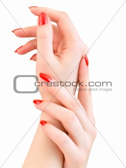 woman hands with red nails