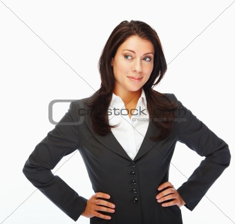 Happy and cheerfu young business woman standing with hands on hip