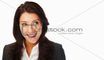 Cheerful young business woman looking away