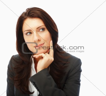 Cute business woman looking away and thinking over white background