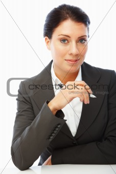 Portrait of a cute business woman holding pen over white background