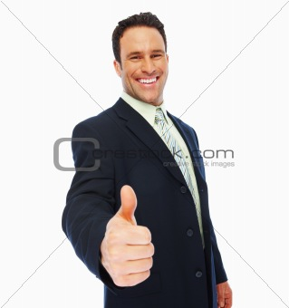 Portrait of smart businessman with thumbs up