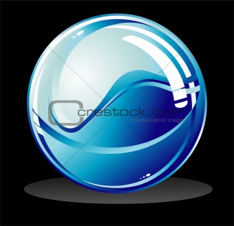 Blue glossy sphere