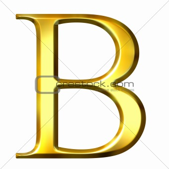 3D Golden Greek Letter Beta