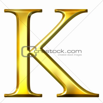 3D Golden Greek Letter Kappa