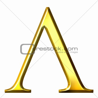 3D Golden Greek Letter Lambda