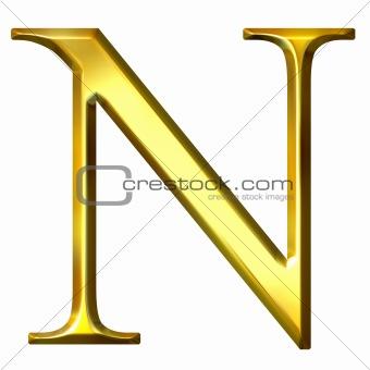 3D Golden Greek Letter Ny