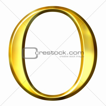 3D Golden Greek Letter Omikron