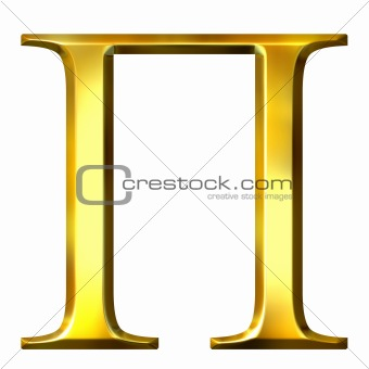 3D Golden Greek Letter Pi