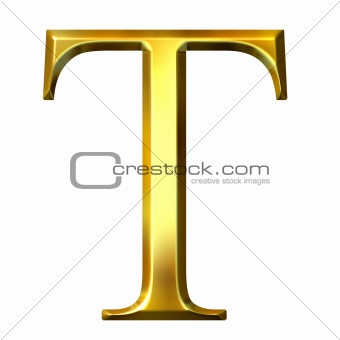 3D Golden Greek Letter Tau