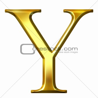 3D Golden Greek Letter Ypsilon