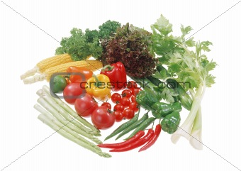 Group of vegetables isolated on the white