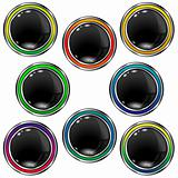Black orb vector buttons - blank
