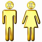 3d golden Gemini man and woman