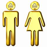3d golden Libra man and woman