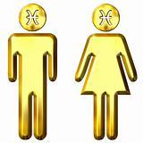 3d golden Pisces man and woman