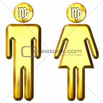 3d golden Virgo man and woman
