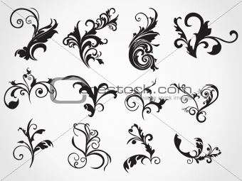 abstract set of floral tattos