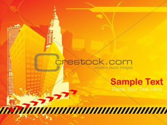 abstract skyscraper background with road sign