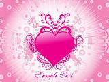 pink heart with retro background