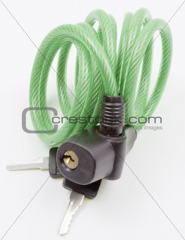 Green cable lock on isolated white background