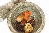 spices and pestle and mortar closeup isolated