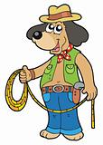 Cowboy dog with lasso