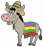 Mexican donkey with sombrero