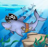Cartoon pirate shark with shipwreck