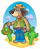 Cowboy dog with lasso in desert