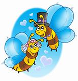 Honey bees wedding on sky