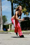 A Beautiful Girl Rollerblades