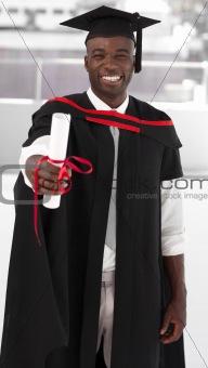 Man smilling at graduation