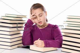 Adorable girl tired with many books