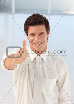 Businessman with Thumb up to camera