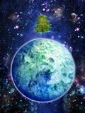 planet with tree, night