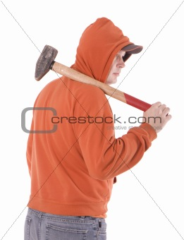 standing men in orange sweatshirt  keeping big hammer