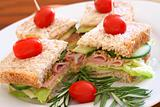 Tasty sandwiches on wholewheat bread