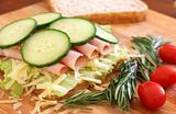 Tasty open sandwich on wholewheat bread