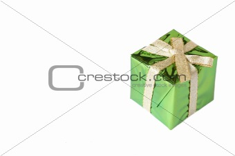 Green mini gift box with gold ribbon