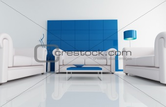 modern white and blu living room