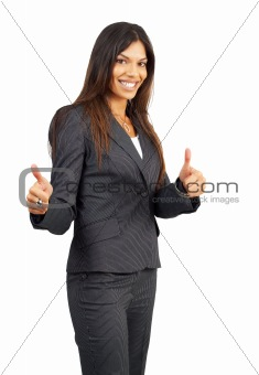 Beautiful brunette businesswoman giving thumbs up