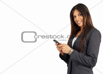 Beautiful brunette woman holding a cellphone