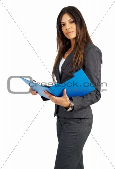 Beautiful brunette woman holding a clipboard