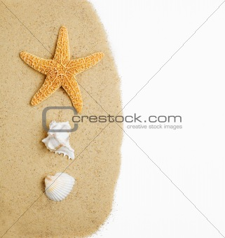Beach Scene on White