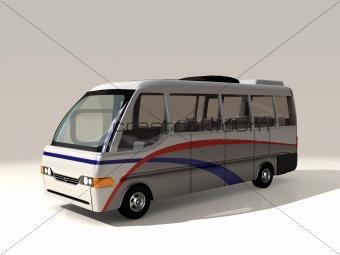 3D model of public transportation shuttle bus