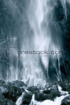 Cascade of Collados del Ason in black and white, Cantabria (Spain)
