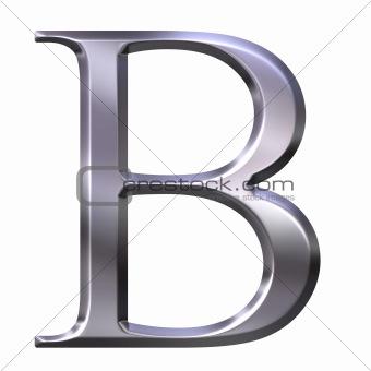 3D Silver Greek Letter Beta